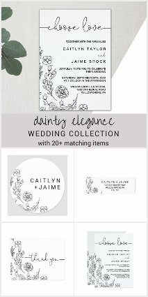 Dainty Elegance Wedding Invitation Collection