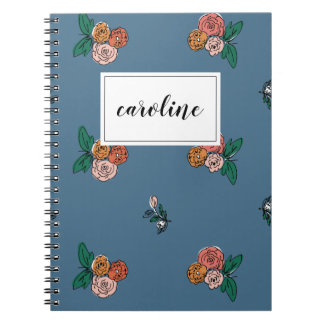 Dainty Floral Personalized Notebook in Blue