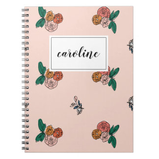 Dainty Floral Personalized Notebook in Pink