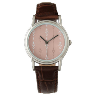 Dainty floral stripes in salmon pink and white watch