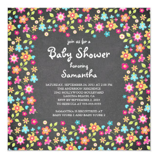 Dainty Flowers Chalkboard Baby Shower Invitations