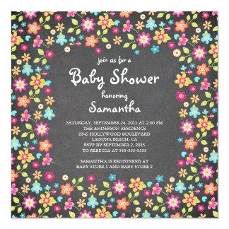 Dainty Flowers Chalkboard Baby Shower Invitations