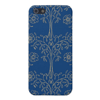 Dainty Gold-effect Floral Pattern on Dark Blue iPhone 5/5S Cover