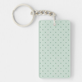 Dainty Green Polka Dots Pattern on a Lighter Green Double-Sided Rectangular Acrylic Keychain