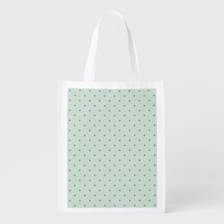 Dainty Green Polka Dots Pattern on a Lighter Green Reusable Grocery Bag