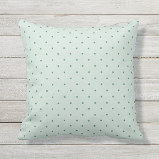 Dainty Green Polka Dots Pattern on a Lighter Green Throw Pillow