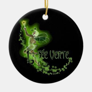 Dainty La Fee Verte I Round Ceramic Ornament