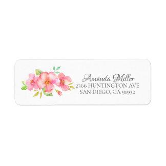 Dainty Pink Floral Bridal Return Address Label