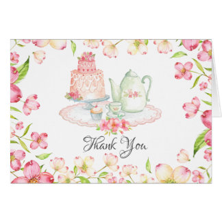 Dainty Pink Floral Bridal Tea Party Thank You Card