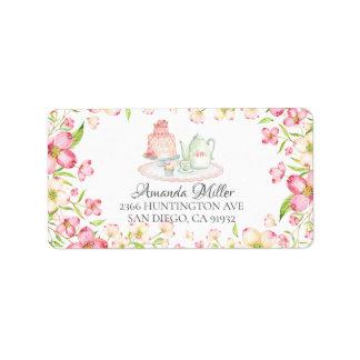 Dainty Pink Floral Bridal Tea Return Address Label