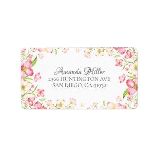 Dainty Pink Floral Return Address Label