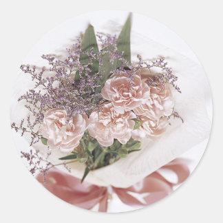 Dainty Pink Flower Bouquet Classic Round Sticker