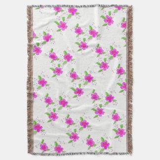 Dainty Pink Flowered Throw