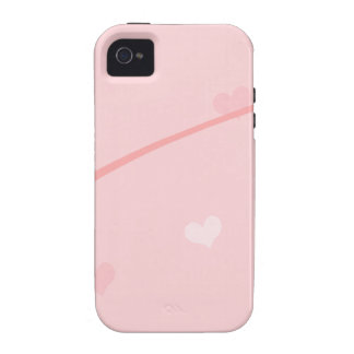 Dainty Pink Heart Background iPhone 4 Case