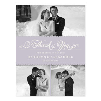 Dainty Scalloped Band Wedding Thank You Photo Postcard