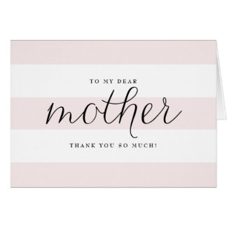 Dainty Script & Pink Stripes Mom Wedding Thank You Note Card