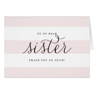 Dainty Script & Pink Stripes Sister Wishing Well Note Card
