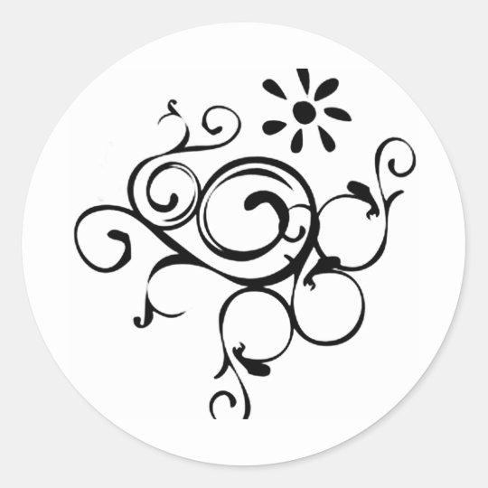 Dainty Vine Classic Round Sticker