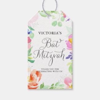 Dainty Watercolor Floral Frame Bat Mitzvah Gift Tags