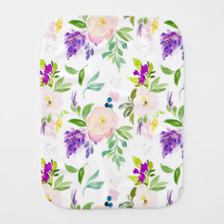 Dainty Watercolor Flowers | Peonies and Wisterias Baby Burp Cloth