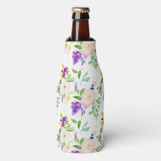 Dainty Watercolor Flowers   Peonies and Wisterias Bottle Cooler
