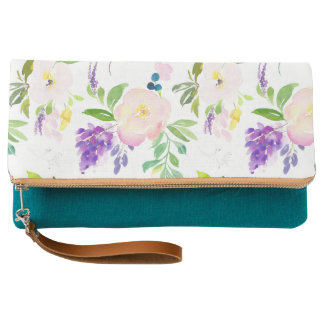 Dainty Watercolor Flowers | Peonies and Wisterias Clutch