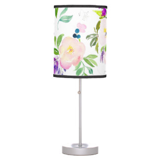 Dainty Watercolor Flowers   Peonies and Wisterias Desk Lamps