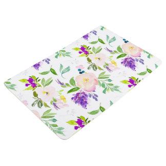 Dainty Watercolor Flowers   Peonies and Wisterias Floor Mat