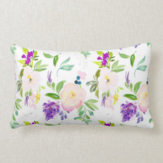 Dainty Watercolor Flowers | Peonies and Wisterias Lumbar Pillow