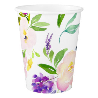 Dainty Watercolor Flowers | Peonies and Wisterias Paper Cup