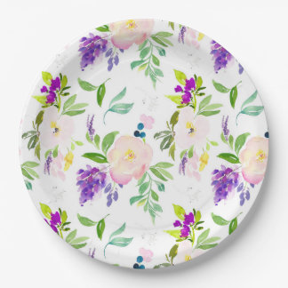Dainty Watercolor Flowers   Peonies and Wisterias Paper Plate