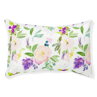 Dainty Watercolor Flowers | Peonies and Wisterias Pet Bed