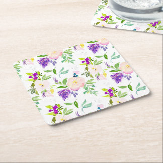 Dainty Watercolor Flowers   Peonies and Wisterias Square Paper Coaster