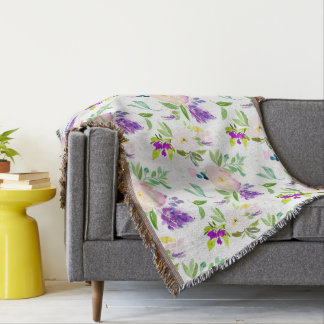 Dainty Watercolor Flowers   Peonies and Wisterias Throw