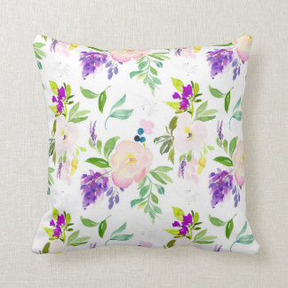 Dainty Watercolor Flowers | Peonies and Wisterias Throw Pillow