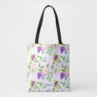Dainty Watercolor Flowers | Peonies and Wisterias Tote Bag