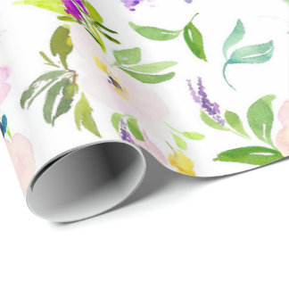 Dainty Watercolor Flowers   Peonies and Wisterias Wrapping Paper