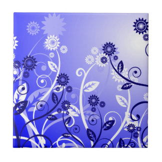 Dainty Wildflowers & Swirly Vines Purple Blue Tile
