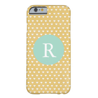 Dainty yellow Hearts Monogram Barely There iPhone 6 Case