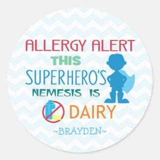 Dairy Allergy Alert Superhero Boy Blue Chevron Classic Round Sticker