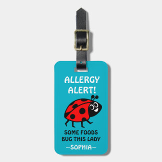 Dairy Allergy Ladybug Medical Alert Luggage Tag
