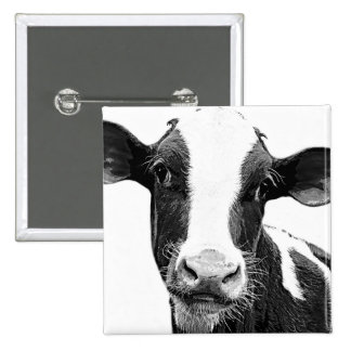 Dairy Cow - Black and White Dairy Calf 2 Inch Square Button