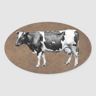 Dairy Cow Oval Sticker