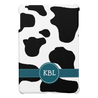 Dairy Cow Pattern Teal Blue Band and Initials iPad Mini Cover