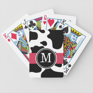 Dairy Cow Pattern with Red Monogrammed Poker Deck