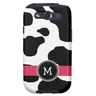 Dairy Cow Pattern with Red Monogrammed Samsung Galaxy S3 Covers