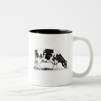 DAIRY COW, PENCIL ART: REALISM Two-Tone COFFEE MUG
