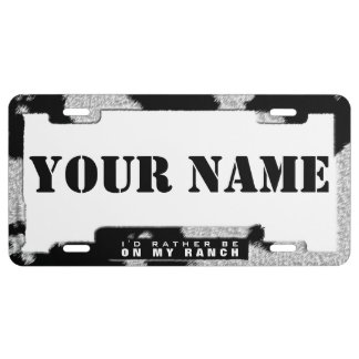 Dairy Cow Style (faux) License Plate Frame