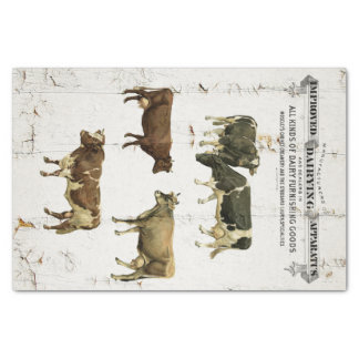 Dairy Cow Vintage Style Old Rustic Cows Tissue Paper