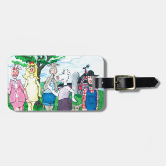Dairy Cows Wearing Street Clothes Luggage Tag